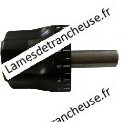 Poignée de réglage d'épaisseur  PIVOT D.18 ESSEDUE 300/350 300-330-350G écriture blanche sur fond noir